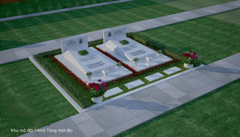 Phối cảnh Mộ đôi đá trắng tự nhiên, nguyên khối, là mẫu mộ táng 1 lần (chôn cất 1 lần) tại Hoa Viên nghĩa trang.