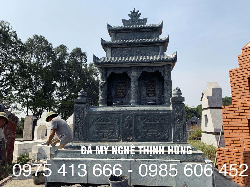 Mộ Đá đẹp, Mẫu Mộ đá xanh rêu 3 mái đẹp của Đá mỹ nghệ Thịnh Hưng 2020