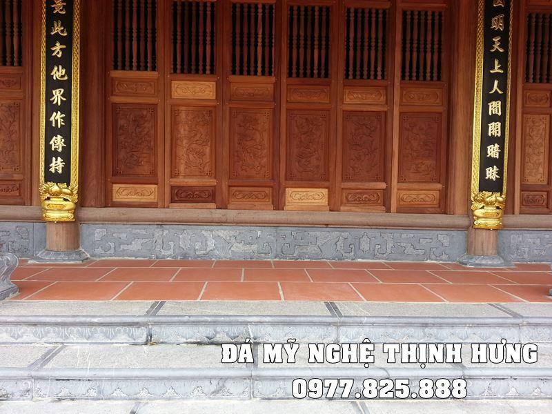 Đặt chân tảng đá, đá bờ bò, bậc thềm đá, cột đá đồng trụ cho Nhà gỗ cổ truyền tại Bắc Ninh.