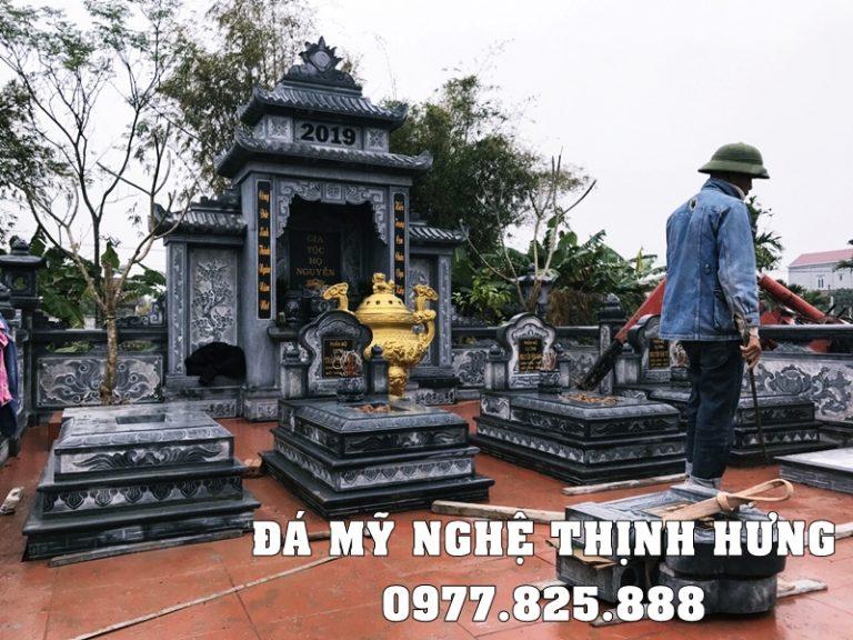 Khu lăng mộ đá đẹp bằng đá xanh rêu cao cấp với các Mộ Tam Sơn nguyên khối đẹp Thịnh Hưng