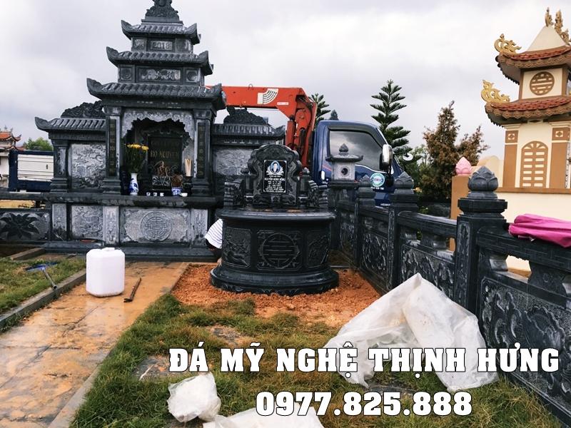 Tư vấn, thiết kế Xây Lăng mộ đá tròn bằng đá xanh rêu cao cấp tự nhiên trên toàn quốc.