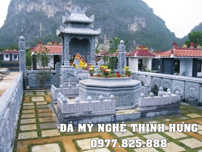 Xây dựng Lăng mộ đá Bát giác đẹp bằng Đá xanh tự nhiên, nguyên khối.