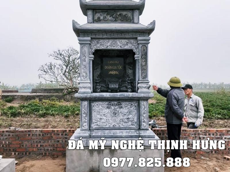 Mẫu Mộ đá 3 mái đẹp Đoàn gia chi Mộ do Đá mỹ nghệ Thịnh Hưng xây dựng