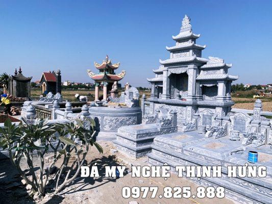 Xây Lăng Thờ Đá đẹp 3 mái cao cấp Đá mỹ nghệ Thịnh Hưng