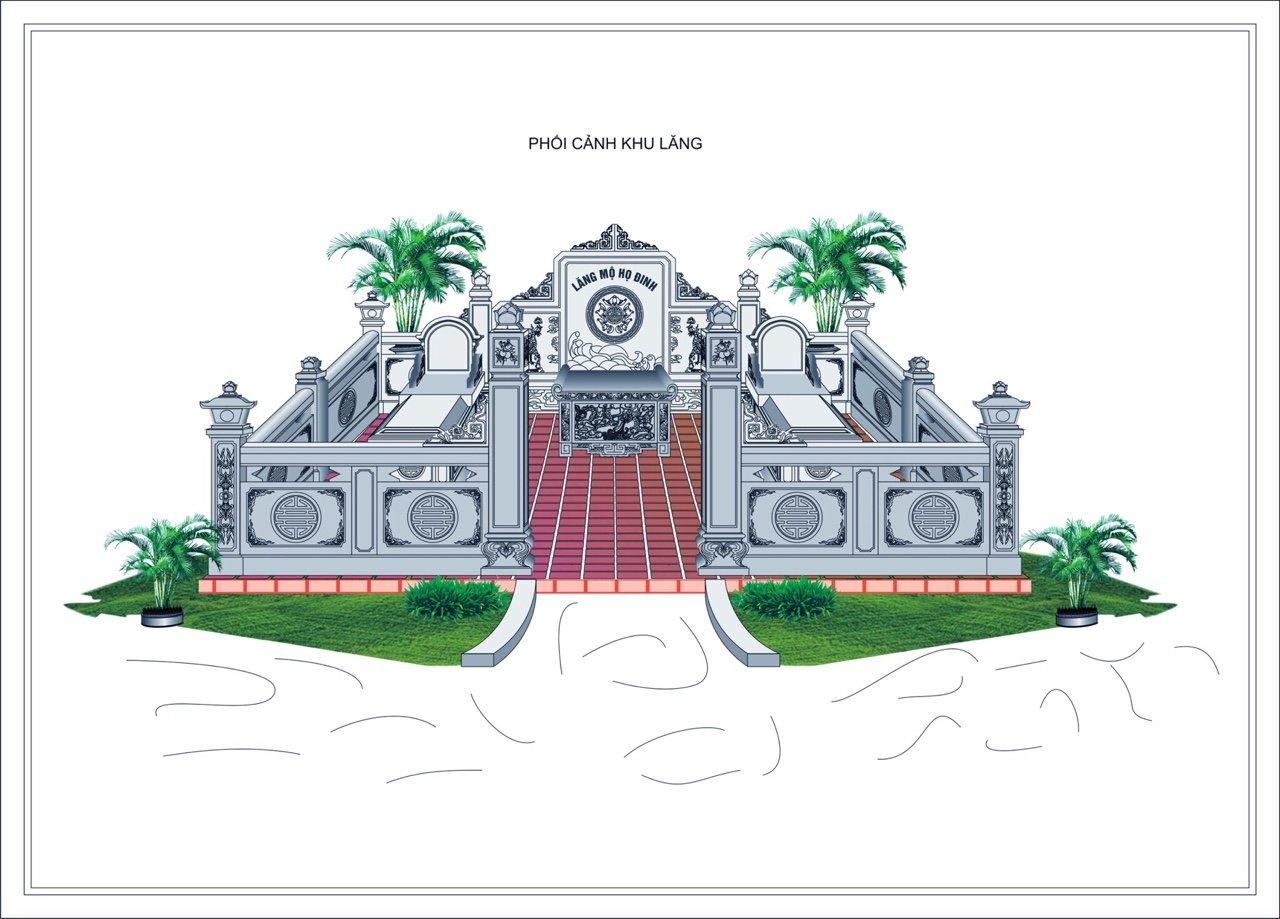 Thiết kế, phối cảnh Khu Lăng mộ đá đẹp năm 2021 cho Bố - Mẹ, Ông Bà