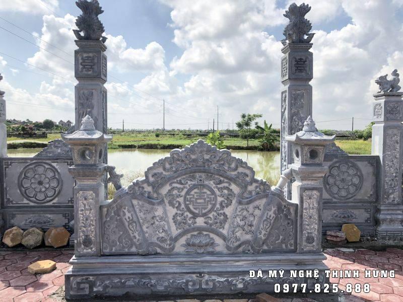 Bình Phong bằng đá xanh đen tự nhiên, nguyên khối cho khu lăng mộ đẹp.